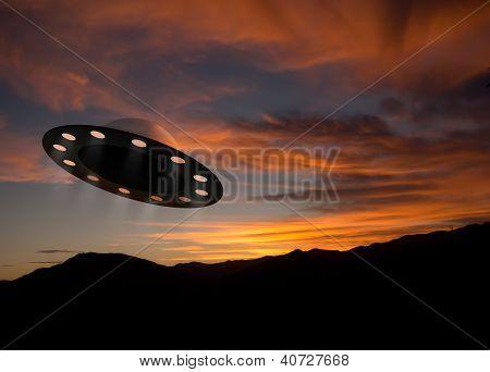 Ufo Aka Unidentified Flying Object At Dusk