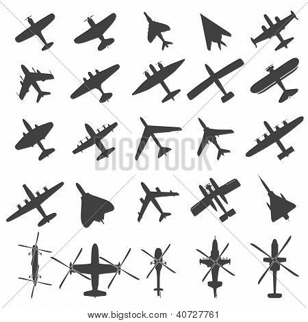 Icons set Airplanes