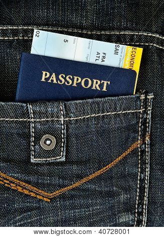 Pasport With Boarding Pass In Jeans