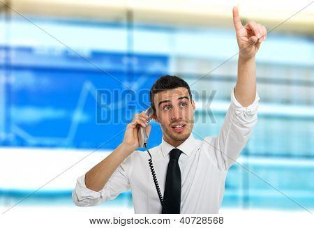 Stock broker at work