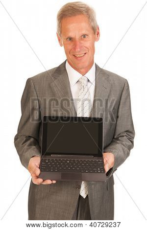Senior business man with digital tablet isolated over white background
