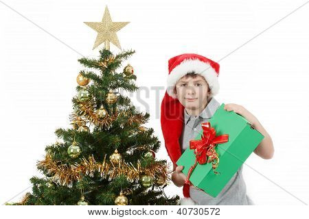 Happy Boy In Santa Hat Show Christmas Present
