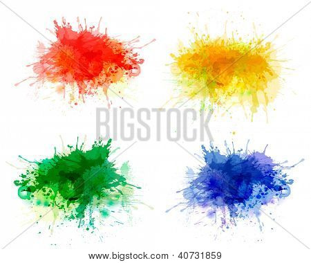 Collection of colorful abstract watercolor backgrounds. Raster version of vector.