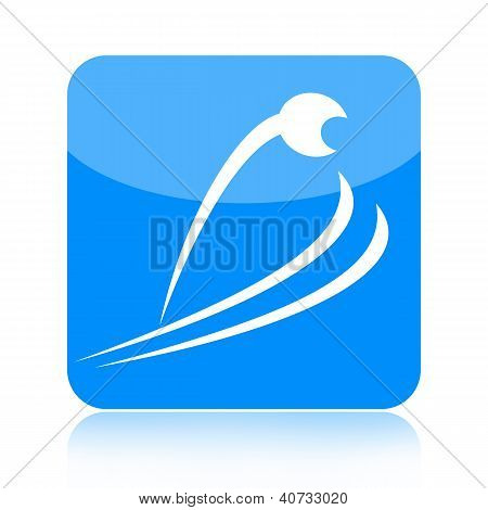 Skier jumping icon