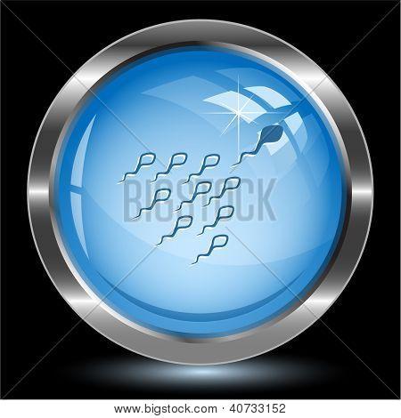 Spermatozoon. Internet button. Raster illustration.
