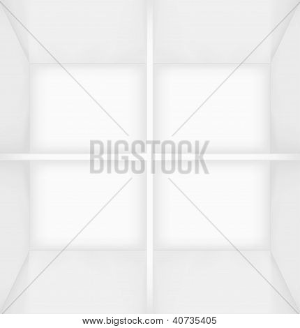 White simple empty room interior divided into four