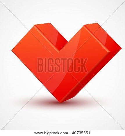 Red shiny 3d cubic heart