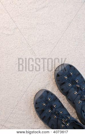 Blue Sandals On White Sand
