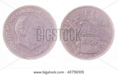 vintage 1957 Francisco Franco era 50 Pesetas coin isolated on white