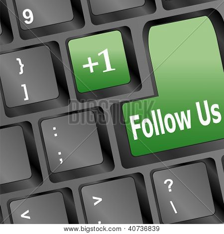 Keyboard With Green Follow Us Button