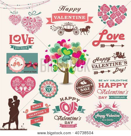 Valentine's day design, labels, icons elements collection. Vector illustration