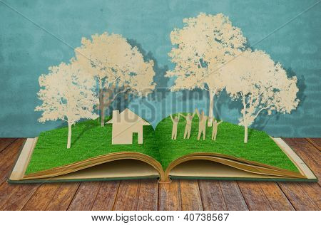 Paper cut of family symbol on old grass book ( House,Tree,Mom,Dad, Child )