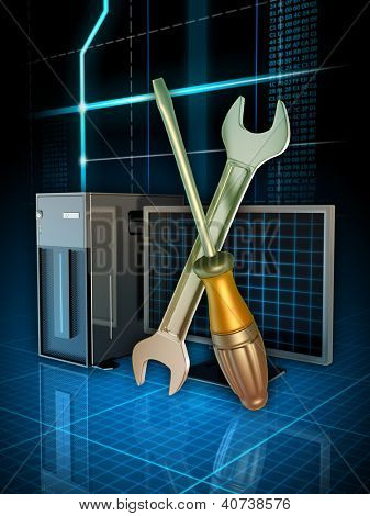 Some tools used to fix computer problems. Digital illustration.