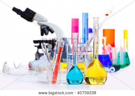 Chemical scientific laboratory stuff microscope test tube flask pipette