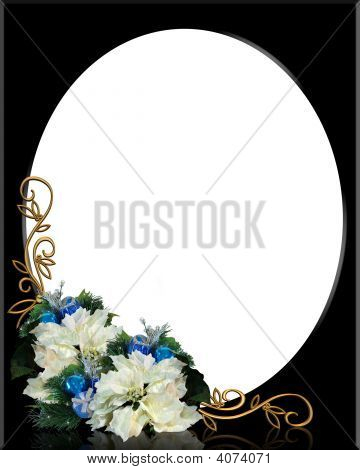 Christmas Frame Oval On Black With White Poinsettias