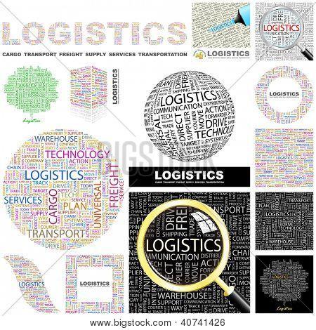 LOGISTICS. Word collage. Vector illustration.