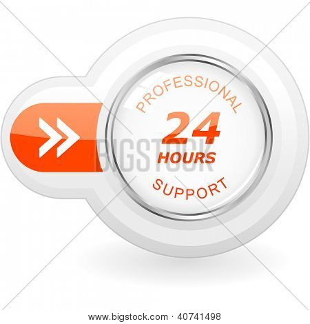 Twenty four hour support. Vector icon.