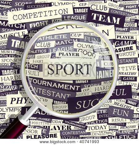 SPORT. Word collage. Vector illustration.