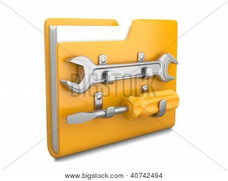 Yellow Folder With Wrench And Screwdriver