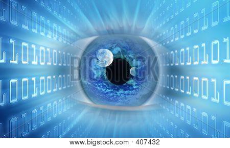 Código binario de la fundición de ojo