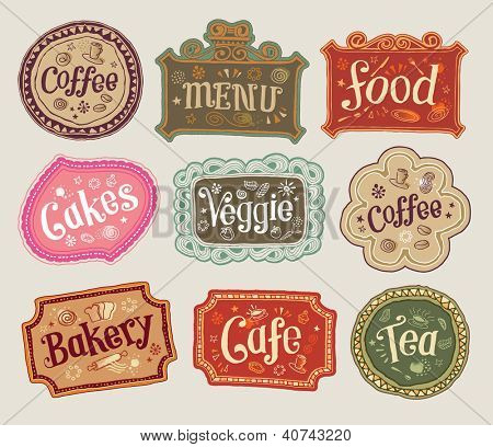 Vector set of doodle labels