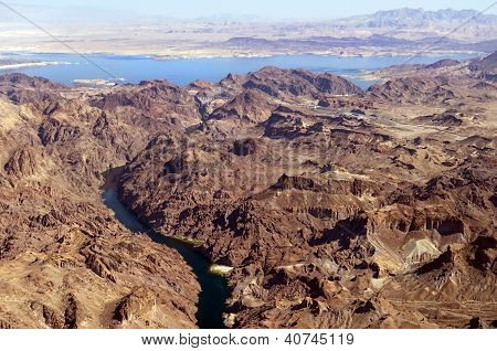 Aerial View Of The Colorado River And Lake Mead