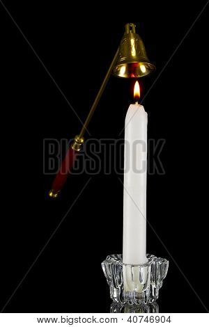 Candle In Glass Candlestick And Candle Snuffer
