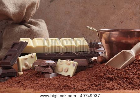chocolate and cocoa composition of table