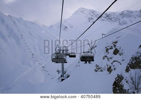 ropeway in winter snow mountain