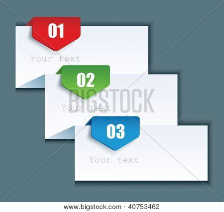 Paper background with numbered banners. Product choice or versions.
