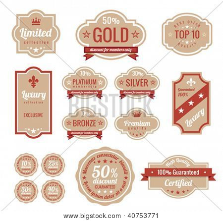 Sale discount RETRO labels. Old Design Stickers pack.  Premium, Gold, Silver, Bronze Vintage Labels. Trendy design. High quality.