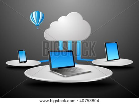 Cloud data concept in virtual space. Notebook, touchscreen phone, touch pad connected to cloud. Vector Presentation template for your product/application. Editable.