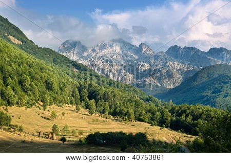 panorama of mountain range in the Kelmend Commune, Albania