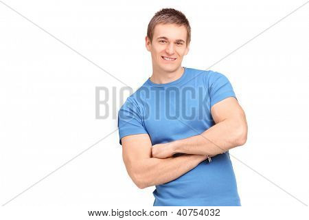 A young man leaning on a virtual wall isolated on white background