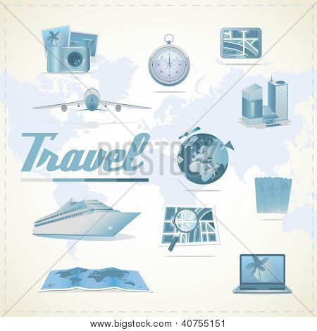 Travel icons. Different types of transportation, compass, maps, gps, notebook, camera, hotel.
