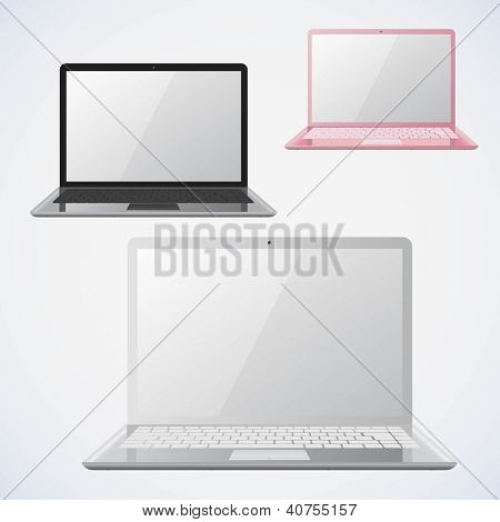 Laptop vector illustrations. 3 colors.