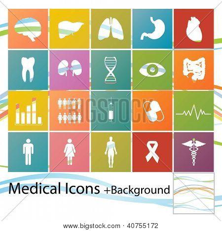 Conjunto de iconos médicos estilo minimalista