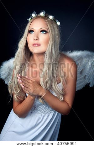 Portrait Of A Blonde In Angel Costume
