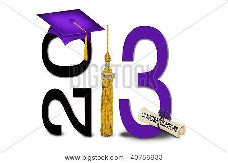 gold tassel with purple graduation cap