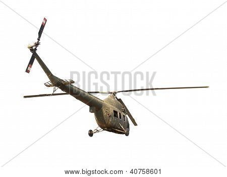 Ruined soviet helicopter isolated