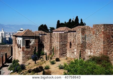 Castle walls, Malaga, Andalusia, Spain.