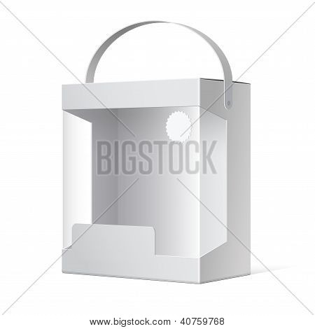 Light Realistic Package Cardboard Box with a handle and a transparent plastic window. Vector illustr