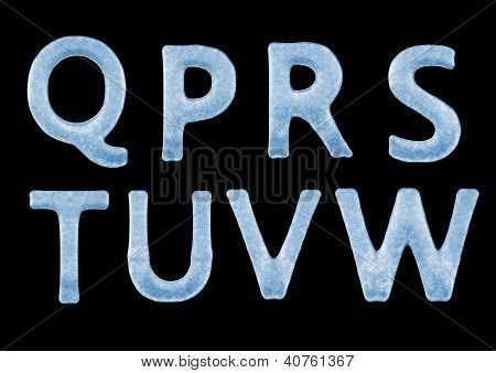 3D Ice Letters Typography Alphabets From Q To W Isolated On Black