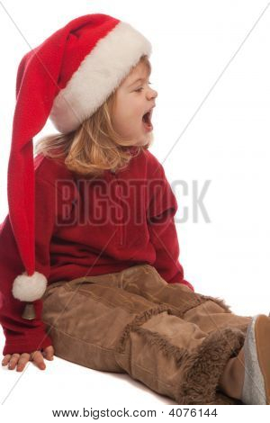 Cute Girl In Santa Hat