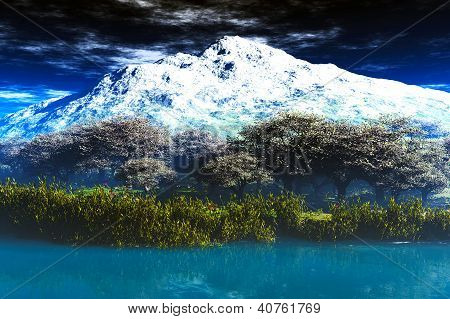 Mighty Mountain in Early Spring Cherry Trees 3D render