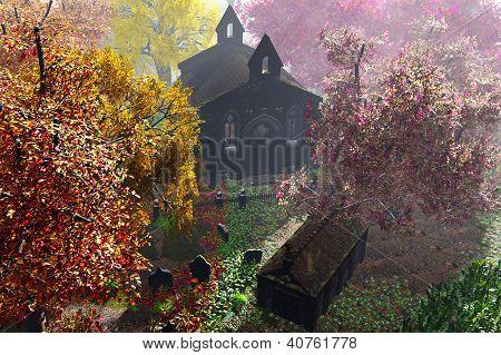 Autumn in Cemetery 3D render