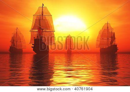 Old Battleship Fleet in the Sea in the Sunset Sunrise 3D render