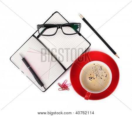 Coffee and office supplies. View from above. Isolated on white background