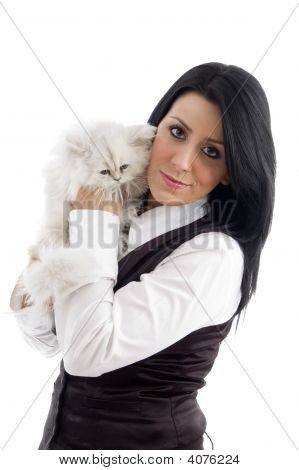 Young Female Holding Her Lovable Cat