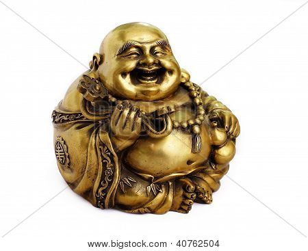 Statuette of Hotei (Buddha) on the white background
